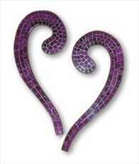 Mosaic Heart Wall Art 2pc / Purple