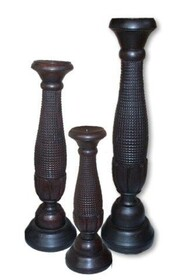 Wooden Candlestick / Pinecone