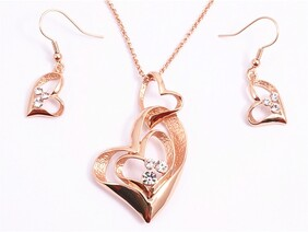 Necklace - Gold Double Heart Set