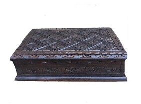 Jewellery Box - Carved Wooden Jewellery Box - 20cm x 16cm
