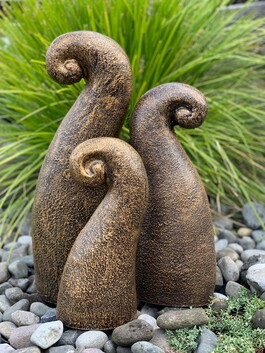 Garden Ornament - Pottery Koru Garden Art - Gold & Black (set of 3)