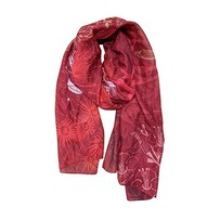 NZ Fashion Scarf -Flora Fusion Red
