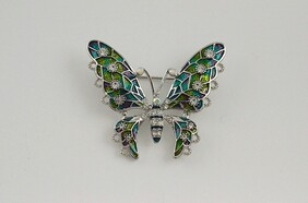 Brooch - Green & Purple Butterfly
