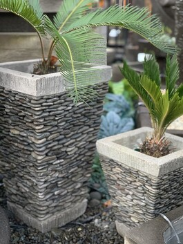 Garden Pot - Grey River Stone Pot - 30cm x 35cm
