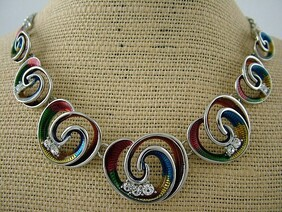 Necklace - Colourful Koru & Diamante