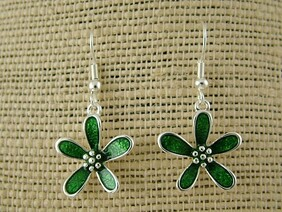 Earrings - Green Daisy