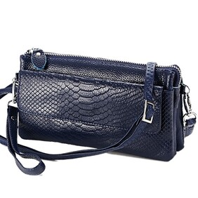 Handbag - Blue Leather 6 Pocket