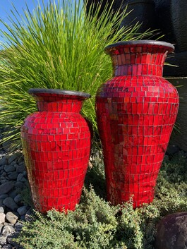 40cm Mosaic Vase with Mosaic inner / Red