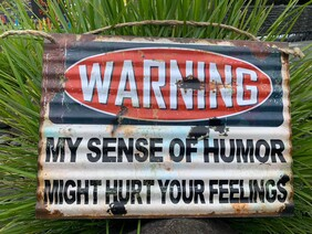 Tin Sign - WARNING:  My Sense of Humour