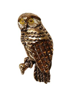 Brooch - Diamante Morepork