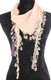 Scarf - Triangle Solid Pink Lace Trim