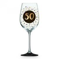 Wine Glass Gold & Black 50th
