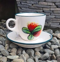 NZ Made Handpainted Tea Cup and Saucer /ND  Pohutukawa