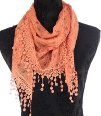 Scarf - Triangle Floral Print Lace Trim