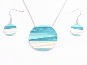 Necklace - Blue Pleated Disc Set