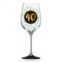 Wine Glass Black & Gold 40th