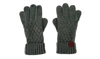Cable Knit Wool Mix Gloves - Grey