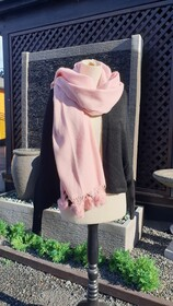 Pink Wool & Rabbit Fur Trim Scarf