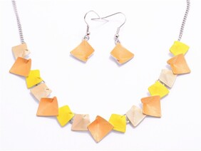 Necklace - Abstract Squares - Orange/Yellow Set