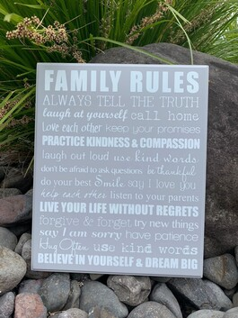 Wooden Sign - Family Rules