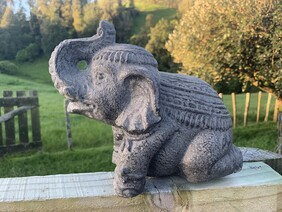 Garden Ornament - 20cm Concrete Elephant