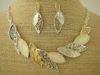 Necklace - Gold & Silver Leaves Set