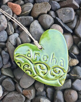 Hasina Arts - Ceramic Heart Aroha Green