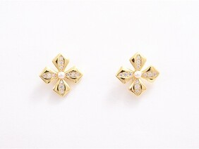 Earrings - Gold Flower Cross