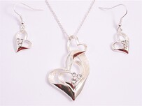 Necklace - Silver Double Heart Set