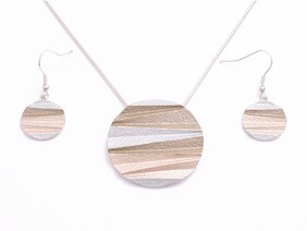 Necklace - Bronze Pleated Disc Set