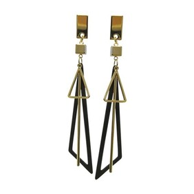 Earrings - Black & Gold Triangles