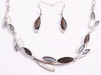 Necklace - Grey Leaves Set
