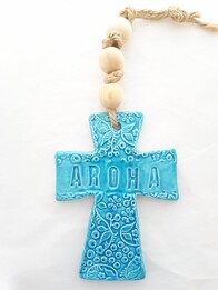Hasina Arts - Ceramic Aroha Cross - Turquoise