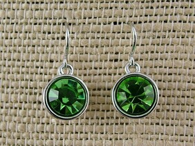 Earrings - 10mm Round Green