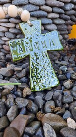 Hasina Arts - Ceramic Aroha Cross - Green